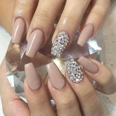 Glossy nude coffin crystal false nails hand painted small medium large