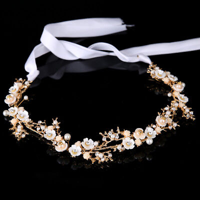 Wedding Bridal Prom Party White Flower Hair Band Rhinestone Headband Ribbon