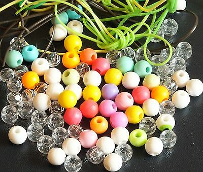ELLO BEADS AND TIES x 85.  MIXED COLOURS.  UK DISPATCH