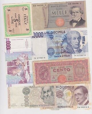 7 Different Old Banknotes From Italy In Fine Or Better Condition