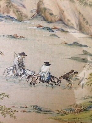 Vintage 20th c Chinese or Japanese silk traditional painting