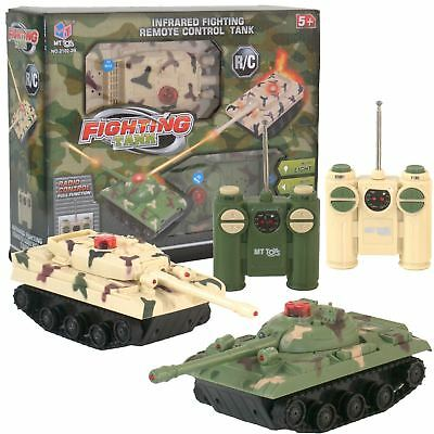 Twin Pack 2 Remote Radio Control Battle Tanks RC Infrared Combat Fighting Tank