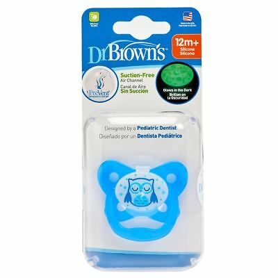 Dr Browns Options PreVent Glow in the Dark Soother Dummy Pacifier 12 Month+ Blue