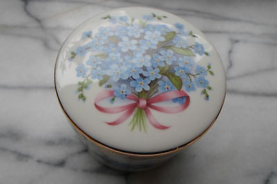 Dresden Forget me not porcelain pot with a  bow
