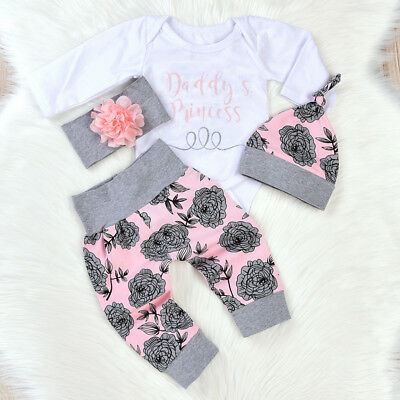 UK Daddy's Princess Outfit Newborn Baby Girl Romper Bodysuit Pants Hat Headband