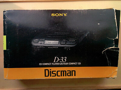 Boxed With Instructions,Vintage SONY Walkman D-33 CD Compact Disc Player Discman