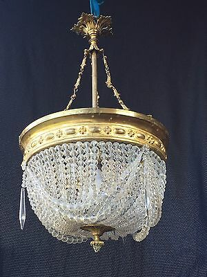 Chandelier Pampilles And Bronze Period Early 20Th