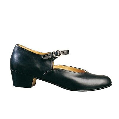 "ADULT Ladies Character shoes stacked leather 1.5"" heel leather uppr single strap"