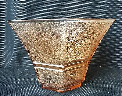 Daum Nancy : Vase Hexagonal Glass Pinkish Signed