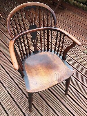 Antique Windsor Chair, Victorian Stick Back Armchair, English Oak Elm Ash C1800s