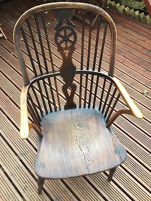 Antique Victorian Windsor High Back Armchair Stick Back Chair English Oak C1800s