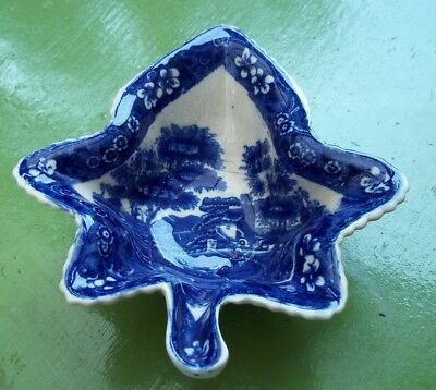 Early Copeland Spode's Tower Blue & White Pickle Dish Veined Back 13.8X12.4 Cms