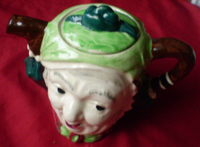 LINGARD POTTERY 'Sairy Gump' From Dickens Martin Chuzzlewit Teapot. 14 cm High.