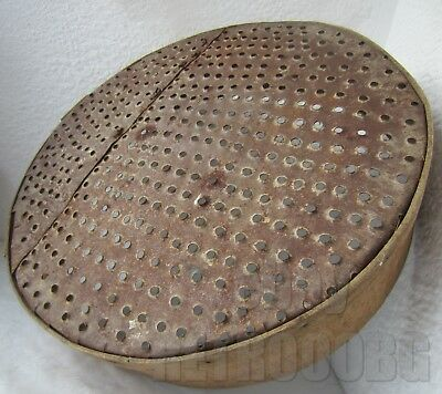 """Punched 15"""" antique primitive bentwood Sieve Sifter Grain Flour Farm Tool round"""