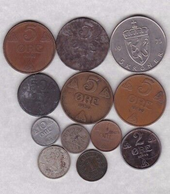 12 Different Coins From Norway Dated 1876 To 1975 In Fine Or Better Condition