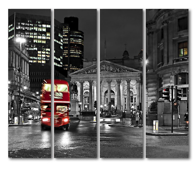 FRAMED PICTURE CANVAS Prints Painting Wall Art Red Bus City Black ...