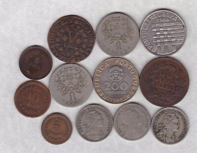 12 Coins From Portugal Dated 1766 To 1995 In Fine Or Better Condition