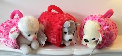 Puppies Puppy Dog With Carrier Basket / Cage Cuddly Soft Toy Teddy Gift Idea New