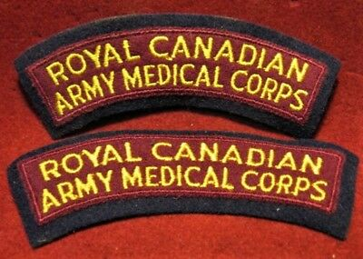 Canadian Army - Set of 2 - RCAMC Medical Corps Shoulder Flashes