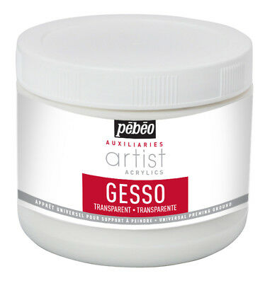 Pebeo Artist Acrylics Auxiliaries Transparent Gesso Painting Primer 500ml