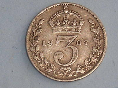 Great Britain Edward Vii Silver Threepence 1907 £4.00 Uk Post Paid (217