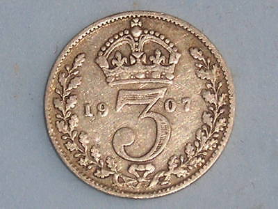 Great Britain Edward Vii Silver Threepence 1907 £4.00 Uk Post Paid (223