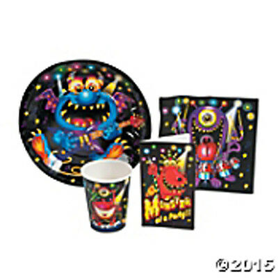 MONSTER BASH Birthday Party Supply Set Kit w/ Plates,Napkins, Cups & Invites