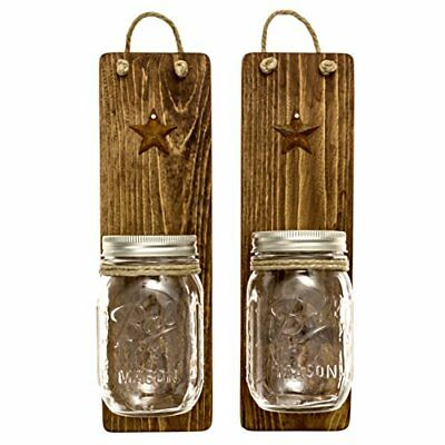 Heartful Home Decor Ball Mason Jar Wall Sconces Primitive Country- Set of 2 for