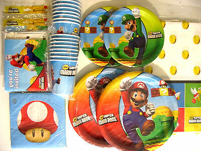 SUPER MARIO BROS. / MARIO BROTHERS - Birthday Party Supplies SUPER  Kit !