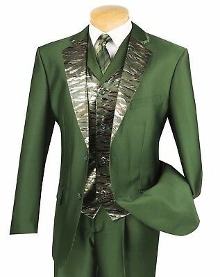 Men's Olive Green 3pc Classic Fit Suit w/ Fancy Trimmed Lapel & Vest NEW Pallini