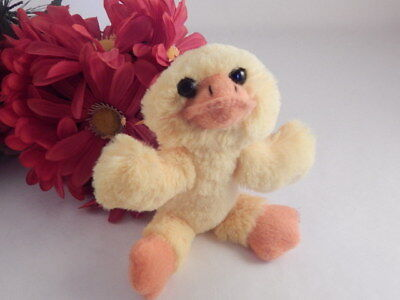 Yellow Duck Stuffed Plush Animal 5 Inch Vintage Baby Toy Spring Easter Decor