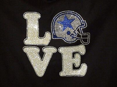 Dallas Cowboys LOVE Rhinestone Bling v-neck ladies T-shirt