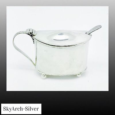 SOLID SILVER Mustard Pot LARGE 131g Grids HALLMARKED LONDON 1909