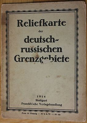 orig. interesting GERMAN  WW1 MAP RELIEF MAP OF BOARDER WITH RUSSIA  FRONT