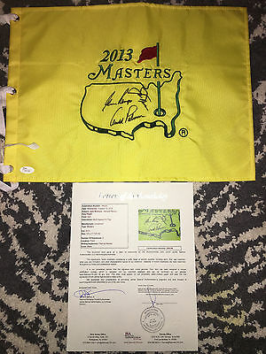 Jack Nicklaus, Arnold Palmer & Gary Player signed Official Masters Flag JSA Auth