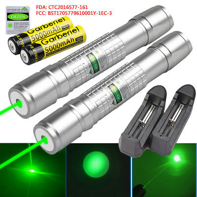 2PCS Military 50Miles Green 532nm Laser Pointer Pen Visible Beam +18650 +Charger