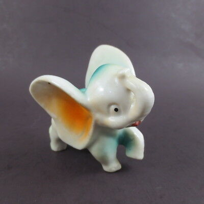 Vintage Ceramic Elephant Figurine Green Orange White Small An 3 Inch Novelty