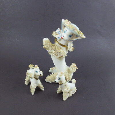 Vintage Spaghetti Poodle Ceramic Figurines Hat Gold Tone Retro Chain Set of 3