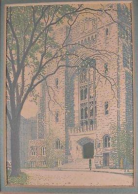 RUDOLPH RUZICKA Westpoint Military Academy Building Color Wood Engraving #3