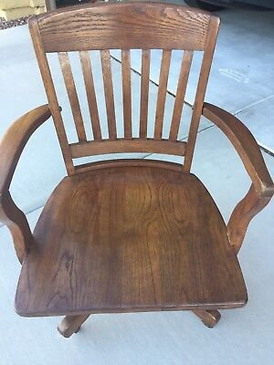Antique Oak Rolling Desk Chair With Arms Swivel Adjustable Banker Lawyer