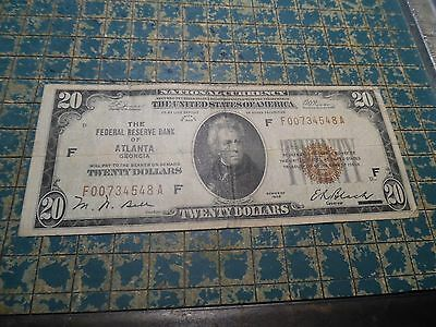 """1929 FRBN Atlanta """"National Currency""""  $20. in VFine with Brown S/N+Seal #BN-12C"""