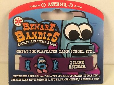 Beware Bandits Allergy Awareness Bands -Asthma- New In Package