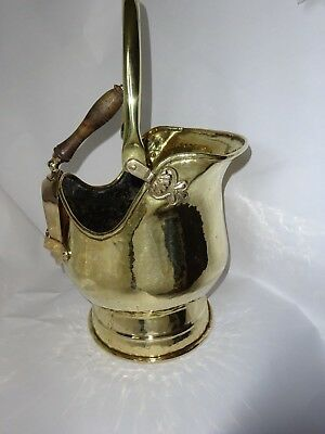 Antique Victorian Hammered Brass Fireplace Scuttle Coal Bucket with Shovel