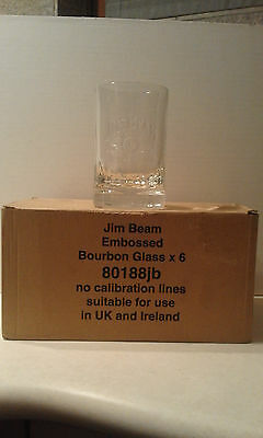 BICCHIERE WHISKY-6x JIM BEAM EMBOSSED BOURBON GLASS