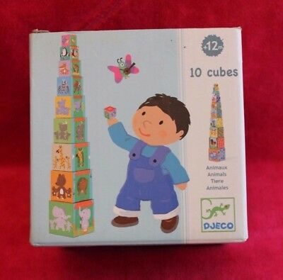 Djeco Oxybul 10 Cubes Gigogne Empilables Emboîtables Animaux - occasion complet