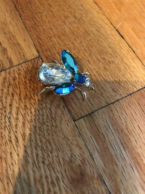 Vintage Sterling Silver Fly Pin With Gems