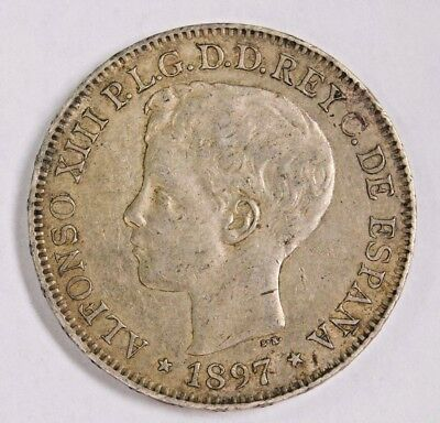 1897 Philippines Un Peso, ONE YEAR TYPE MINT!