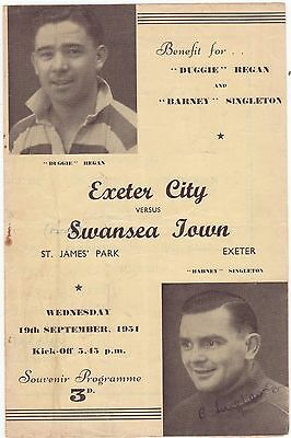 Exeter V Swansea 1951/52 4 Page Benefit Match