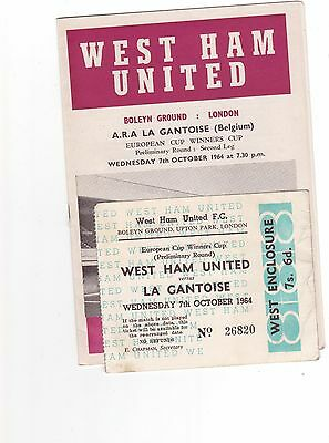 West Ham V La Gantoise 1964/65 Ecwc In Ticket And Match Reports