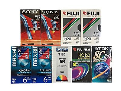 Mixed Lot Of 9 Blank VHS TAPES Sony Fuji Konica TDK Maxwell New And Sealed